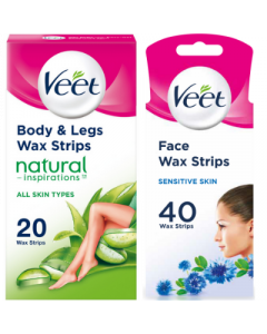 Veet Face Wax Strips Sensitive 40s + Body & Legs Wax Strips 20s