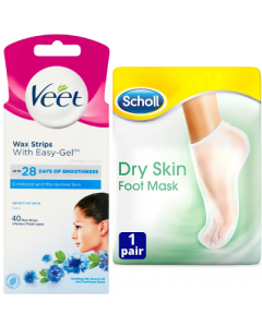 Scholl Face Wax Strips Sensitive 40s + Scholl Foot Mask (1 Pair) Bundle