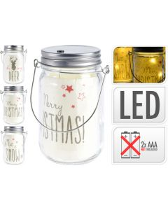 Glass Jar with 5 LEDs and Decor