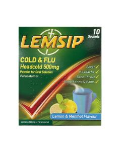 Lemsip Cold & Flu Headcold Lemon & Menthol 10 Sachets