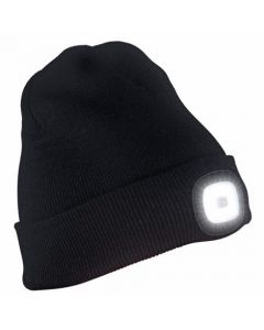 Unisex Beanie Hat with LED Head Light Torch Rechargeable Via USB