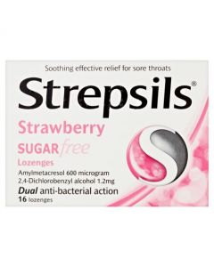 Strepsils Lozenges Sugar Free - Strawberry - 16 Pack