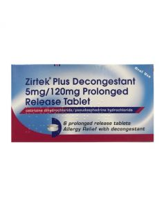 Zirtek Plus Decongestant 5mg/120mg Prolonged Release Tablets 6s