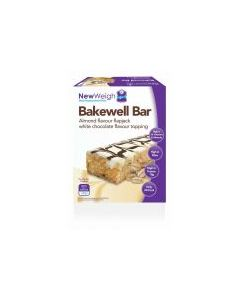 NewWeigh Bakewell Bars Almond Flavoured Flapjack White Chocolate Flavour Topping (Box 5+2 Free Bars)