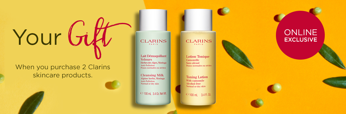 Clarins Free Gift when you purchase 2 Clarins skincare products